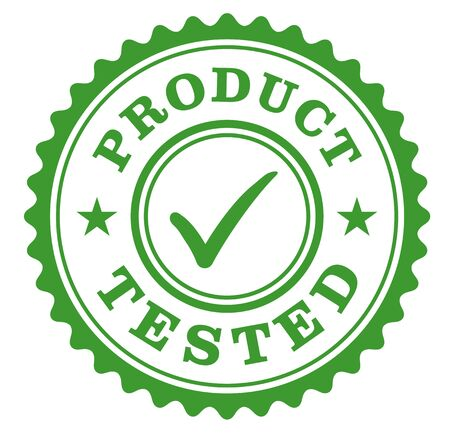 Product tested sign on white background. Badges and stamps series.