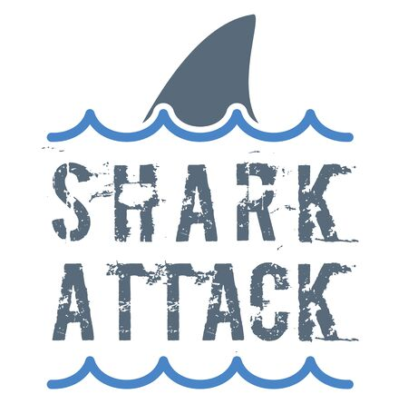 Shark attack sign on white background. Badges and stamps series.