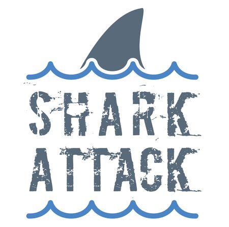 Signe d'attaque de requin sur fond blanc. Série de badges et timbres.