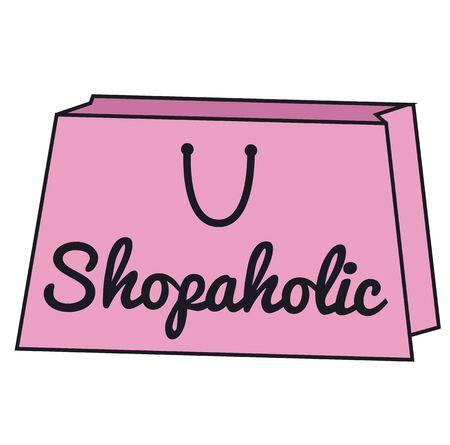 Shopaholic sign on white background. Badges and stamps series. Ilustração