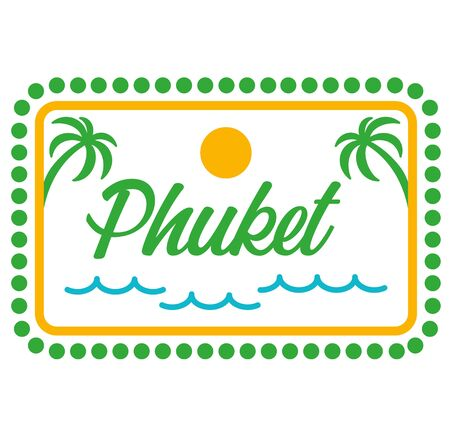 Phuket sign on white background. Badges and stamps series.