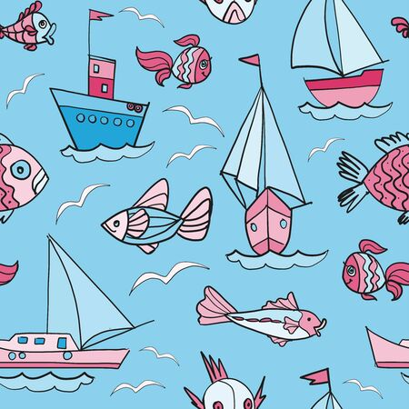 Fishing boats pattern cartoon style design for children