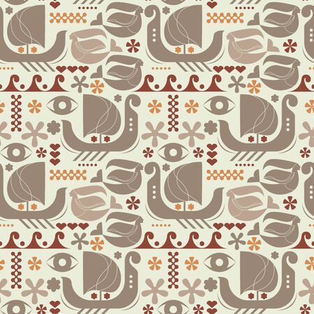 Myths and legends pattern scandinavian style seamless design illustration