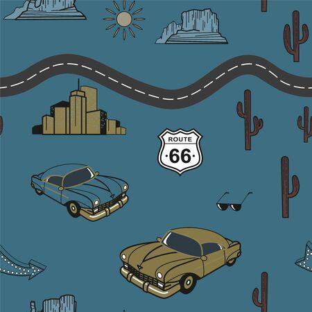 Route 66 pattern flat color design Illusztráció