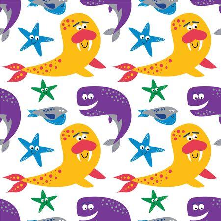 Underwater pattern flat cartoon design for children