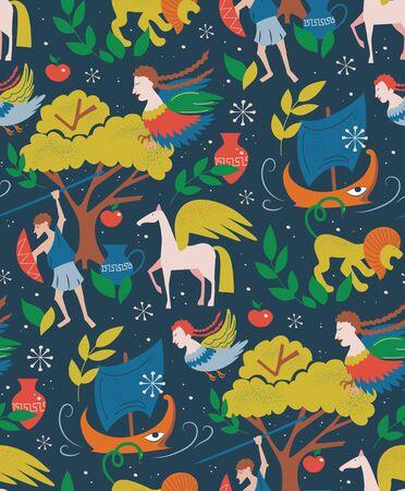 Myths and legends pattern cartoon style design for children Ilustração