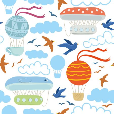 Air travel pattern seamless design. Decoration textile and paper series