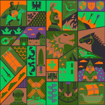 Medieval pattern seamless design graphic Ilustração