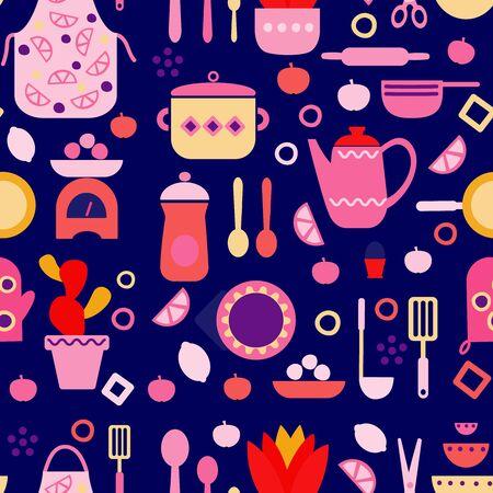 Küchenmuster nahtlose Designgrafik