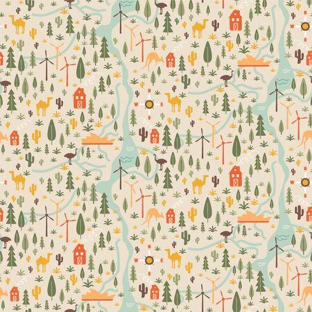 Village pattern seamless design graphic