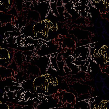 Stone age pattern seamless design. Decoration textile and paper series Ilustração