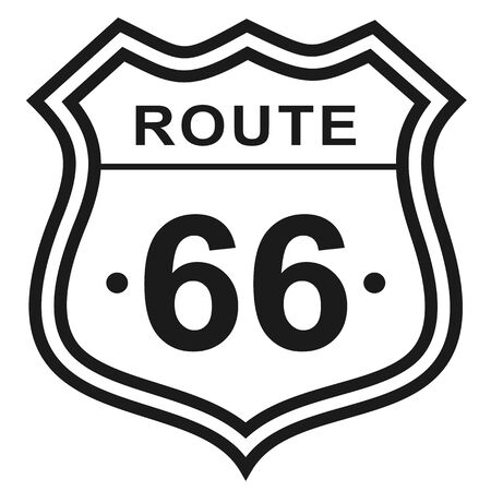 Route 66 flat color illustration. United States Route 66 series.