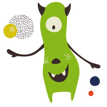 Monster flat color illustration. Children cartoon series. Ilustração