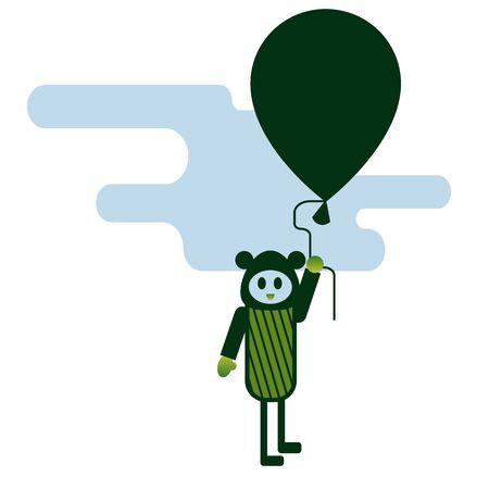 Flying man flat color illustration. Children cartoon series.