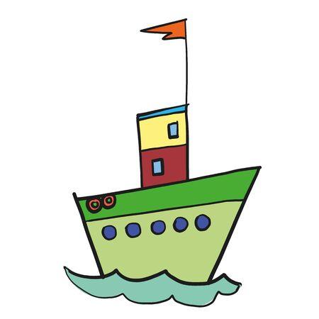 Ship flat color illustration. Children cartoon series.