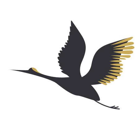 Crane flat color illustration. Native culture series. Ilustração