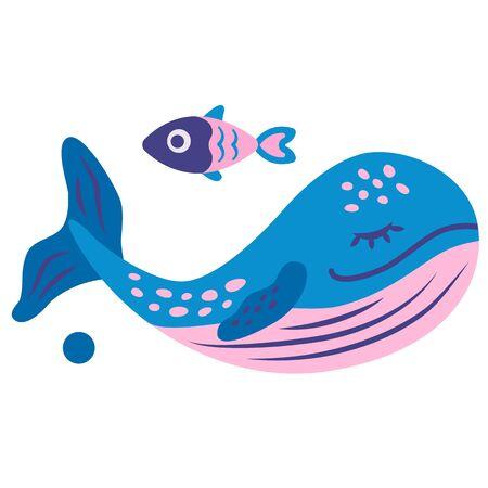 Whale flat color illustration. Children cartoon series. Ilustração
