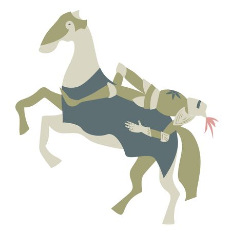 Knight on horse flat color illustration on white