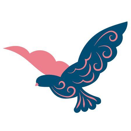 Flying bird flat color illustration on white Ilustração