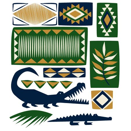 African pattern flat color illustration on white