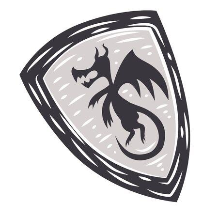Medieval shield flat color illustration on white Ilustração
