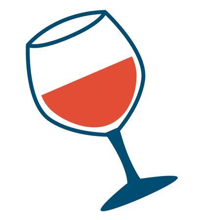 Glass of red wine flat color illustration on white Ilustração