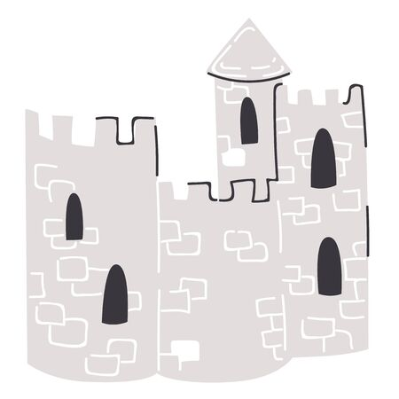 Medieval castle flat color illustration on white