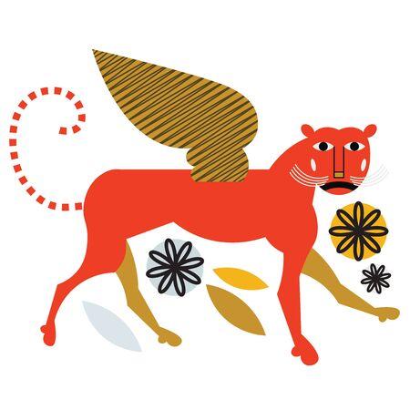 Mythological griffin flat color illustration on white Ilustração