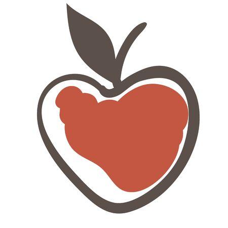 Red apple flat color illustration Ilustração