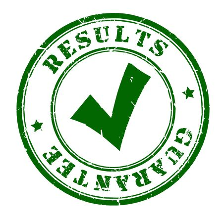 Timbre de garantie de résultats isolé sur blanc