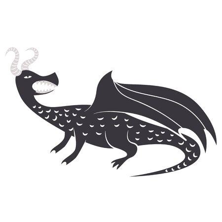 Medieval dragon flat color illustration on white