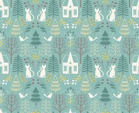 Forest house pattern seamless design illustration