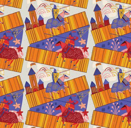 Medieval knights pattern seamless design illustration