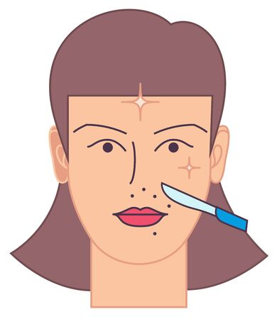 Dermaplaning procedure icon. Simple illustration showing process of dermaplaning, modern face cleaning process performed in beauty salons. Ilustração