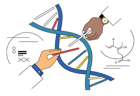 Genome editing concept illustration. Scientists hands taking out and putting in parts of genome structure to engineer, modify bioligical code. Illustration