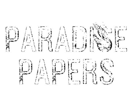 Paradise papers letters sign, black letters on white. Distorted black lettering about paradise papers offshore fraud case. Illustration