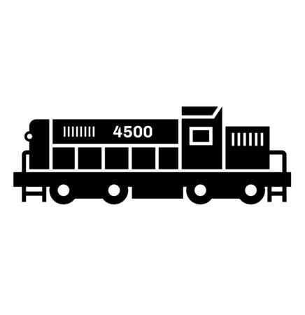 Train locomotive black icon on white background