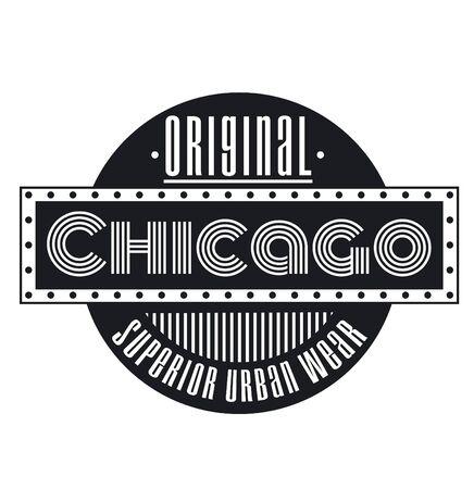 Chicago original superior urban wear black label on white 向量圖像