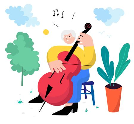 Older woman plays cello as her hobby, surrounded by green nature on a sunny day. Ilustrace