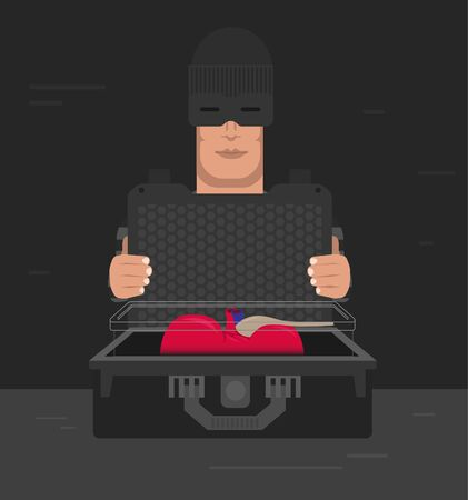 Human internal organ trafficking business, shown as criminal person wearing mask holds suitcase with human organ inside.