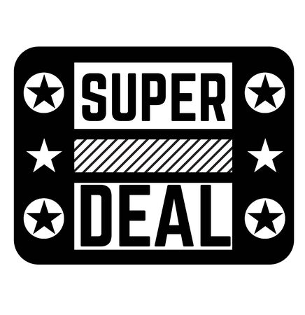 Super deal black stamp on white background