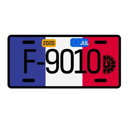 France automobile license plate on white background. Country license plate series.