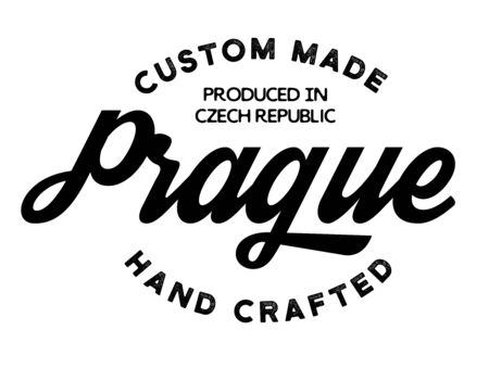 prague production label on white background. Labels and stamps series.