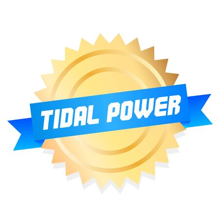 TIDAL POWER stamp on white background. Stickers and stamps series.