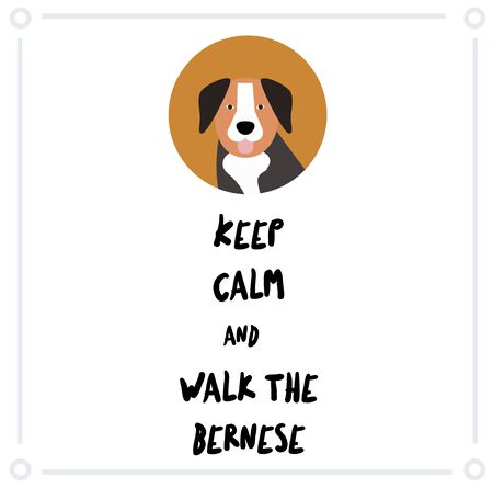 Keep Calm and walk the bernese mountain dog , illustration on white background Vettoriali