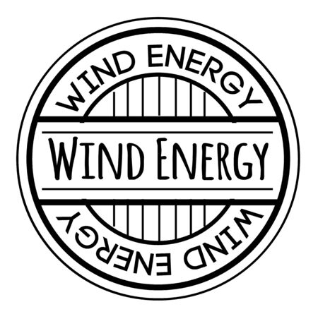 WIND ENERGY stamp isolated on white. Stamps and stickers series.