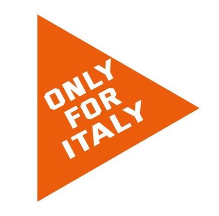 ONLY FOR ITALY stamp isolated on white. Stamps and stickers series. Vector Illustration