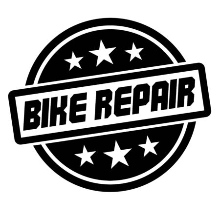 BIKE REPAIR stamp on white. Stamps and labels series.