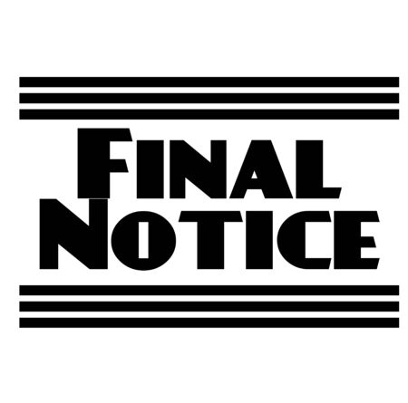 FINAL NOTICE stamp on white. Stamps and labels series.