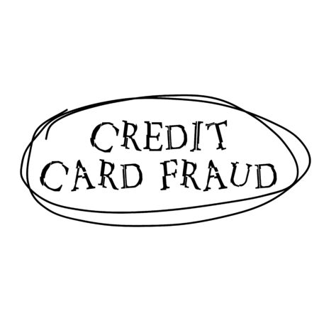 CREDIT CARD FRAUD black stamp on white background. Stamps and stickers series.